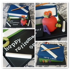 Teacher retirement cake (The Designer Cake Company) Tags: school apple cake pencil book chalk teacher ruler blackboard retirement