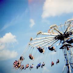 Indiana Beach (Theresa Thompson) Tags: park camera summer 120 film square fun amusement ride swing plastic diana indianabeach