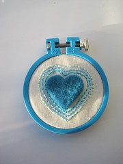 Turquoise Heart (valerina15) Tags: blue love wool felted heart handmade needle etsy stitched embroidered