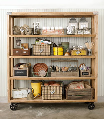 Rolling Shelves Garden Cart (Heath & the B.L.T. boys) Tags: wood basket lantern chalkboard shelves wateringcan jars organize casters