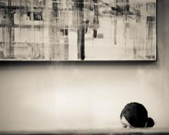 thoughts flow on canvas (bluechameleon) Tags: city urban bw woman abstract blur reflection monochrome vancouver painting blackwhite cafe sharon hidden wish toned gastown explored bluechameleon artlibre bluechameleonphotography