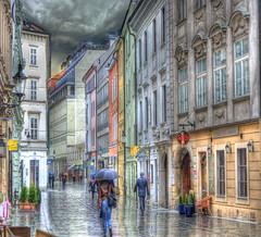 BRATISLAVA, Rainy Day in Old Town (Cat Girl 007) Tags: architecture colorful pastel cobblestone rainy slovakia bratislava hdr historicbuildings contemporaryartsociety extraordinarilyimpressive architectureandcities