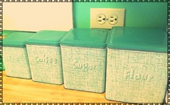 My vintage green metal kitchen canister set (eg2006) Tags: old green classic kitchen metal vintage 60s cottage mint kitsch retro 50s chic minty jadite decor tins 40s iphone canisters shabby kitchenalia jadeite pixlromatic