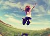 If I Had Wings (SOMETHiNG MONUMENTAL) Tags: sky selfportrait silly grass fun fly spring jump nikon farm fisheye soar d60 somethingmonumental mandycrandell