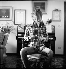 (...And Of Course Robbie The Horse Dances The Waltz) (Robbie McIntosh) Tags: blackandwhite bw horse selfportrait 120 6x6 tlr film monochrome rolleiflex mediumformat square mirror fuji mask negative neopan rodinal rodinal150 acros dyi 100iso pellicola selfdevelopment mittelformat moyenformat fujineopan filmisnotdead fujineopanacros100 medioformato rolleiflex28e homedevelopment carlzeissplanar80mmf28 rolleiflex28e2 rolleiflexplanar28e