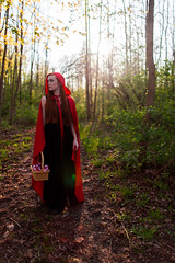Final Project: Little Red Riding Hood #1 (Cbs2595) Tags: trees red portrait woman ny newyork girl fairytale forest 35mm canon photography woods picnic basket princess little head redhead rochester riding littleredridinghood photograph hood ribbon tall rit dinsey canon1d