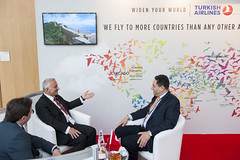 Temel Kotil in a discussion at the Turkish Airlines stand