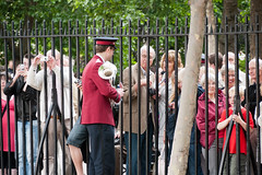 ISB120 2011 062 (Howard.) Tags: people musician tree london fence army crowd watching parade behind talking salvation enjoying photographing 2011 staffband isb120