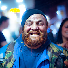 Subclub (TGKW) Tags: old portrait people man smile hat night beard french army gold bokeh expression glasgow coat teeth homeless beggar jacket nightlife subclub 7358