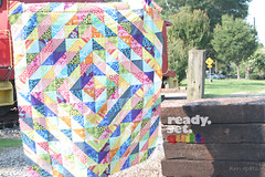 Ready. Set. Quilt (KMQuilts) Tags: blue red orange green yellow modern triangles rainbow purple quilt half squared kmquilts