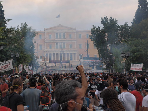 Greek parliament swathed in tear gas. Athens by Teacher Dude's BBQ