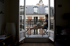 School is over (Shemer) Tags: portrait woman paris france building window sitting balcony melanie terrasse shemer  shimritabraham