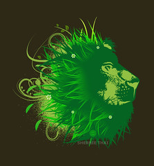 Majestic Nature: Lion in the Grass (shaire productions) Tags: detail green art nature floral grass leaves animal illustration cat design leaf artwork flora graphics king pattern graphic natural image drawing arts lion tshirt designs concept draw drawn conceptual wildcat majestic tee apparel imagery sherriethai shaireproductions shaireproductionscom