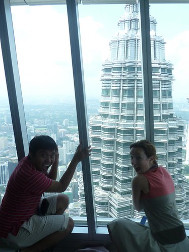 Reaching the 86th floor of the Petronas Towers in Malaysia