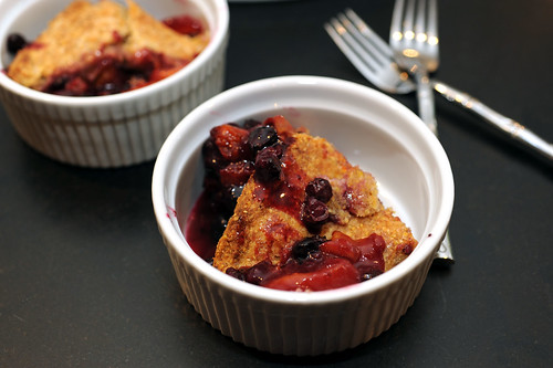 peach, apricot, and blueberry cobbler