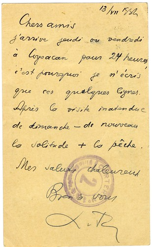 Postcard from Leon Trotsky to Frida Kahlo, Diego Rivera, 1937 (verso)