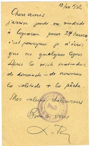 Postcard from Leon Trotsky to Frida Kahlo, Diego Rivera, 1937 (verso)