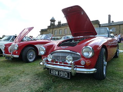 1966 Austin Healey 3000 and 1956 Austin Healey BN2 Le Mans Spec 2011 Vintage Vehicle Rally Wortley Hall (woodytyke) Tags: auto park uk red two england house west english classic tourism home car wheel club vintage austin photography hall photo village display britain body district south sheffield yorkshire united rally spoke kingdom convertible 1966 event riding mans chrome le gathering restored vehicle hood classical british motor enthusiast 1956 manor bonnet visitor 3000 radiator tone spec isles touring rotary healey attraction barnsley stately bn2 wortley motorcar 2011 spoked woodytyke