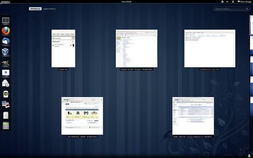 "Fedora 15: ""Activities"" hot corner: ""Windows"" view"