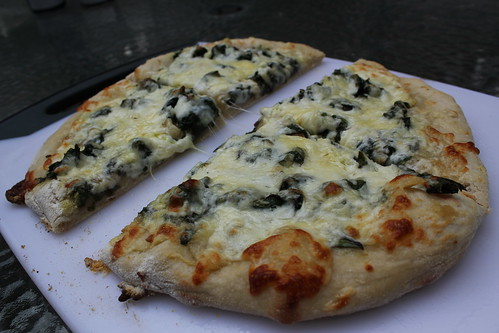 Grilled Chard and Garlic Pizza