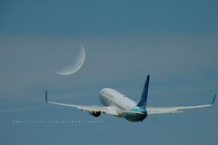 Fly Me To The Moon [EXPLORED] (Rudy Sempur) Tags: sky moon indonesia airplane nikon southeastasia aircraft crescent airline coolpix boeing garuda garudaindonesia nikoncoolpixp80 boeing737800ng