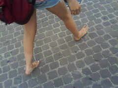 german school girl (helciomodior) Tags: girl walking toe candid german barefeet paintednails dirtysole