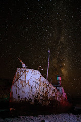 Whaling ship sleeps (sax_man_al) Tags: ocean old travel sea sky abandoned beach broken water metal night stars coast boat rust marine ship harbour antique transport rusty places vessel erosion shipwreck shore rusted beached coastline aged nautical southgeorgia hull hulk wreck damaged derelict grytviken wreckage milkyway petrel