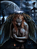 ANGEL or DEMON? (The PIX-JOCKEY (visual fantasist)) Tags: red portrait woman cloud moon girl beauty cemetery graveyard statue female angel night cat photoshop hair nude wings eyes cross joke fake fantasy planet horror photomontage demon chop lightning universe ritratto burialground fotomontaggi thelordoftherings simbol allegoria freakingnews robertorizzato elphic pixjockey