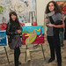 Briana Young (left) with her Jordan Winery 4 on 4 Art Competition entry, \