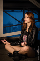Steel Zen (Walicek) Tags: urban woman leather fashion yoga glamour nikon peace spirit redhead beam zen mind metropolis meditation lastolite sb900 ezybox d7000 walicek