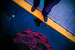 Divided (Luis Montemayor) Tags: reflection building feet night lights luces noche edificio sidewalk reflejo