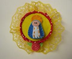 Im Nossa Senhorinha (Artecologica) Tags: santa arte artesanato santos feltro reciclagem santo tampinhas trabalhosartesanais arteecolgica vilmanavarro