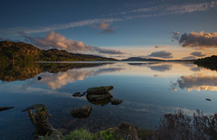 A Calm Loch.. (Gordie Broon.) Tags: nature water clouds reflections landscape geotagged evening scotland scenery rocks alba scenic may escocia hills inverness eveninglight schottland ecosse 2014 invernessshire scozia scottishhighlands canon1740l dunlichity leefilters lochduntelchaig bunachton calmloch gordiebroonphotography canon5dmklll