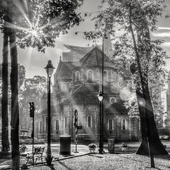 Saigon Notre-Dame Basilica (Asian Hideaways Photography) Tags: city travel urban blackandwhite bw backlight garden asia southeastasia religion vietnam saigon hcmc