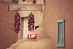 (K. Sawyer Photography) Tags: chile window adobe pottery hanging taospueblo taosnewmexico chilepeppers redchile taospueblonewmexico