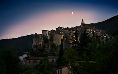 Old town (Lisa Widerberg) Tags: creepy town italy mountain moon crescentmoon moonlight dark sky stars haunted old ancient stone houses brick smalltown italian halloween ghostly beautiful architecture ghost ghosttown evening ceriana medivaltown medival