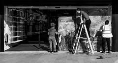 2016_275 (explored) (Chilanga Cement) Tags: fuji fujix100t fujixt1 x100t xseries x100s x100 x bw blackandwhite window work working teamwork ladder