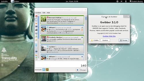 gwibber 3.1.0 fonctionnel sous Gnome 3... A quand les poules dentées ?