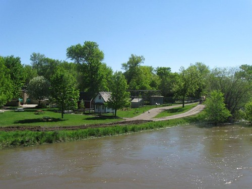 Flood waters threaten the Roosevelt Park Zoo in Minot, ND