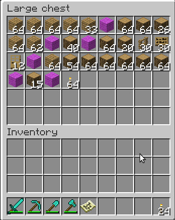 12 Wooden Doors   64 Torches   Pickaxe Shovel Axe for digging and mistakes     A Piece of Wool Separates Steps    Note  I was placing the last of the  items. HowTo   Build a Barn   Screenshots   Show Your Creation