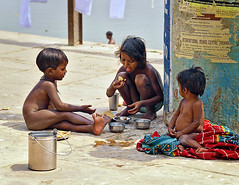 Lunchtime at Ganges River (unstill) Tags: poverty india boys varanasi