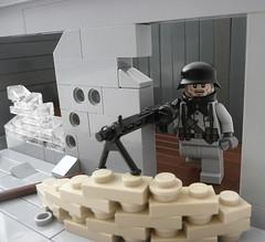Vantage Point. (Lego Junkie.) Tags: soldier lego wwii mg german ba 42 brickarms