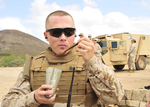 A U.S. Marine from Marine Wing Support Squadron 471 assigned to the task force?s 9th Provisional Security Force eats lunch during a break from .50-caliber machine gun marksmanship training near Camp Lemonier, Djibouti, Dec. 31, 2008. Marines with the squadron are on a seven-month deployment to Camp Lemonier providing security and force protection. (U.S. Navy photo by Mass Communication Specialist 2nd Class Jesse B. Awalt/Released)