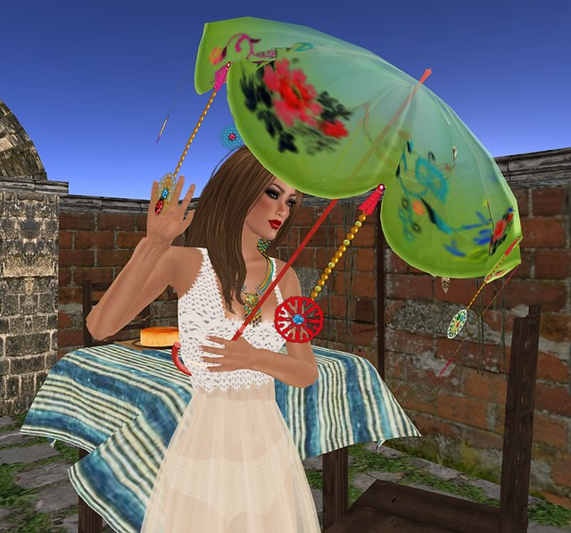 The Sea Hole- Imported parasol- green &  lacquer red Scalloped
