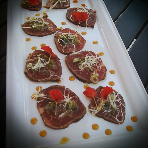 Heritage Angus Beef Tataki at Hapa Umi - Garlic ponzu, green onion oil, spicy daikon