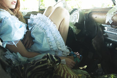 (yyellowbird) Tags: abandoned girl car dress windsor chrysler cari egl 1950 elegantgothiclolita trashlolita