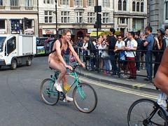 London Naked Bike Ride 2014 (Waterford_Man) Tags: street boy shirtless people woman man male london girl bike female naked nude cyclist path wheels trafalgarsquare cycle topless biker nudity wnbr londonnakedbikeride borisbike
