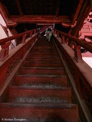 Zhengding_Hebei_China_2006_ Melissa Donaghue-2374 (daisyvisionxxx) Tags: china red stairs 2006 beam climbing hebei  mainhall kuanyin steep guanyin     steepstairs zhengding tianning hebeiprovince   longxingtemple melissadonaghue  pavilionofgreatbenevolence foxiangpavilion  dabeige tianninggoddessofmercy