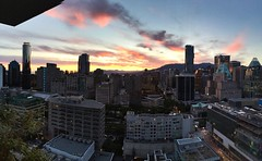 Sunset. Pano. (vancityhotshots) Tags: city urban skyline architecture vancouver cityscapes downtownvancouver