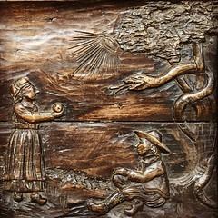 Original sin (badger_beard) Tags: carved wood wooden carving adam eve garden eden original sin serpent snake apple eye god